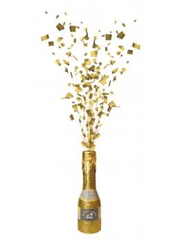 Mini bouteille lance confetti or