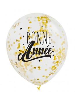 """3 Ballons """"Bonne Année""""confetti Or"""