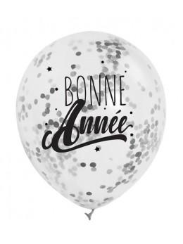 """3 Ballons """"Bonne Année""""confetti Argent"""