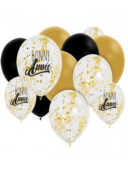 """12 Ballons confetti """"Bonne année""""or et noir"""