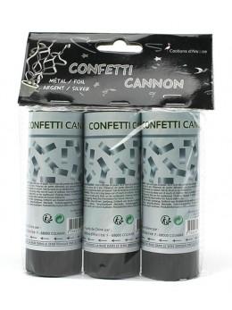 3 Mini canon à confetti argent 12cm