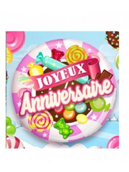 Ballon alu Joyeux Anniversaire Bonbon Rose  45cm