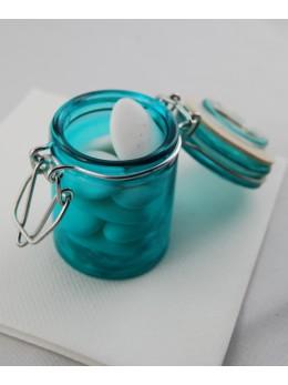 Pot à dragées confiturier bleu lagon