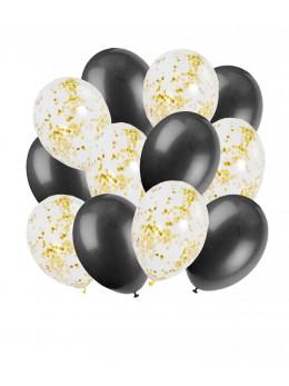 12 Ballons noir et confetti or