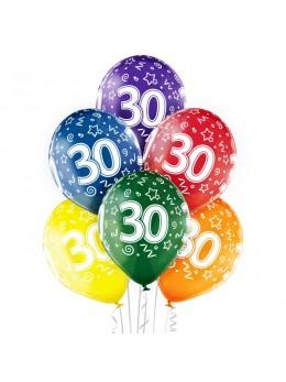 6 Ballons 30 ans multicolores