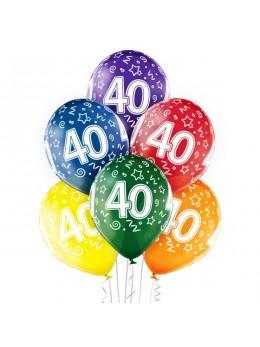 6 Ballons 40 ans multicolores