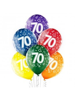 6 Ballons 70 ans multicolores