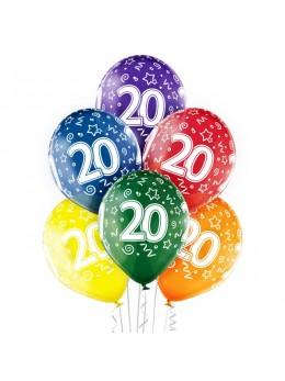 6 Ballons 20 ans multicolores