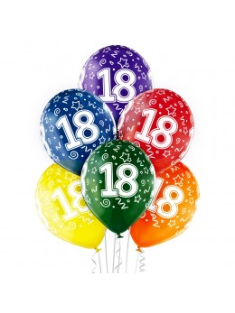 6 Ballons 18 ans multicolores