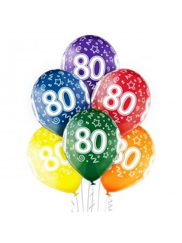 6 Ballons 80 ans multicolores