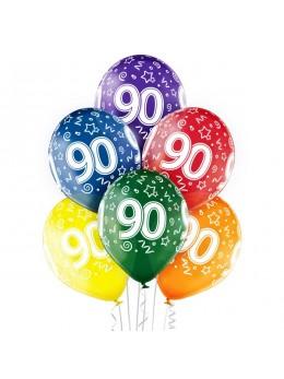 6 Ballons 90 ans multicolores