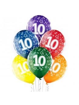 6 Ballons 10 ans multicolore