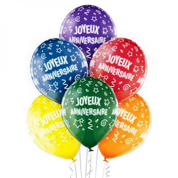 6 Ballons Joyeux Anniversaires 30cm