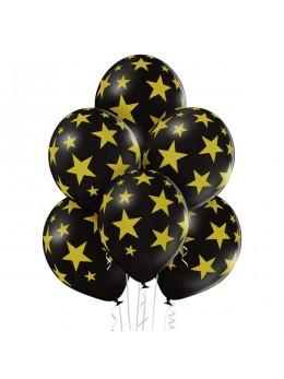 6 Ballons noirs étoiles or