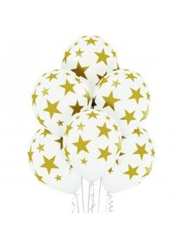 6 Ballons blancs imprimés étoiles or