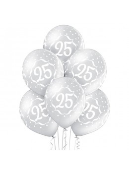 6 Ballons argent 25 ans