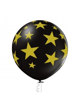 Ballon géant noir étoiles or