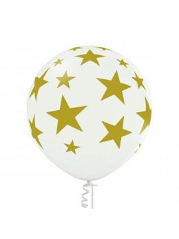 Ballon géant blanc étoiles or