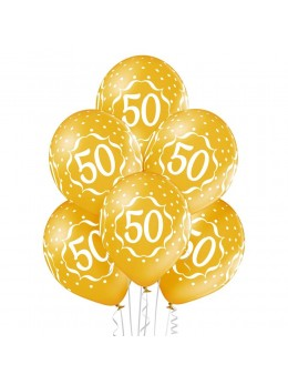 6 Ballons 50 ans or 30cm