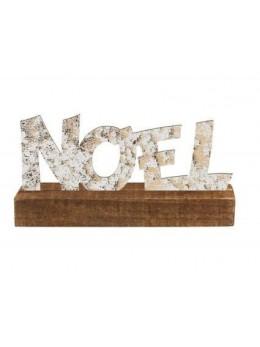 Centre de table bois lettres métal Noël 28cm