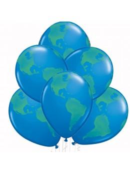 6 Ballons mappemonde 30cm