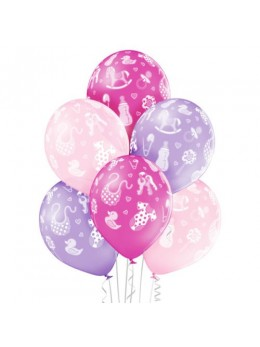 6 ballons baby shower fille