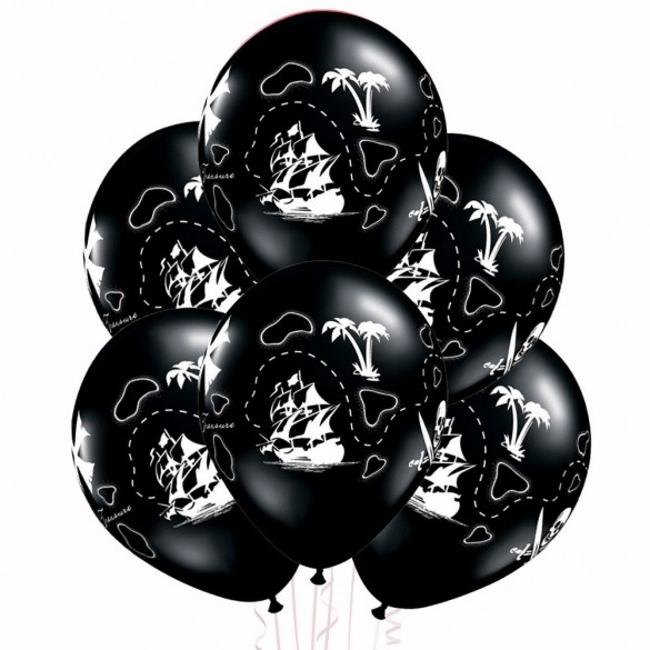 6 Ballons pirate carte au trésor 30cm