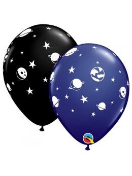 6 ballons noirs motif planète