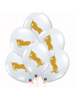 6 Ballons transparent licorne or