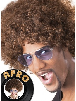 Perruque Afro chatain promo