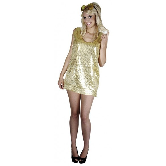Déguisement robe disco or