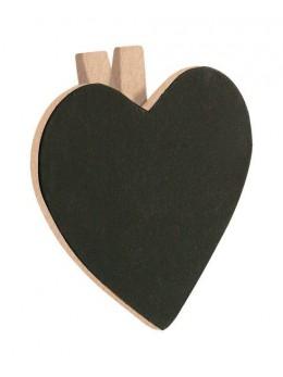 6 Ardoises coeur + pince nature