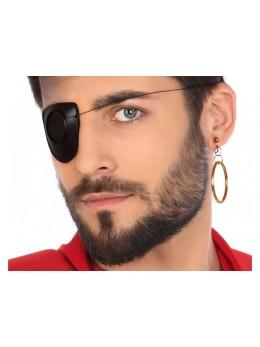 Cache oeil noir + boucle d'oreille