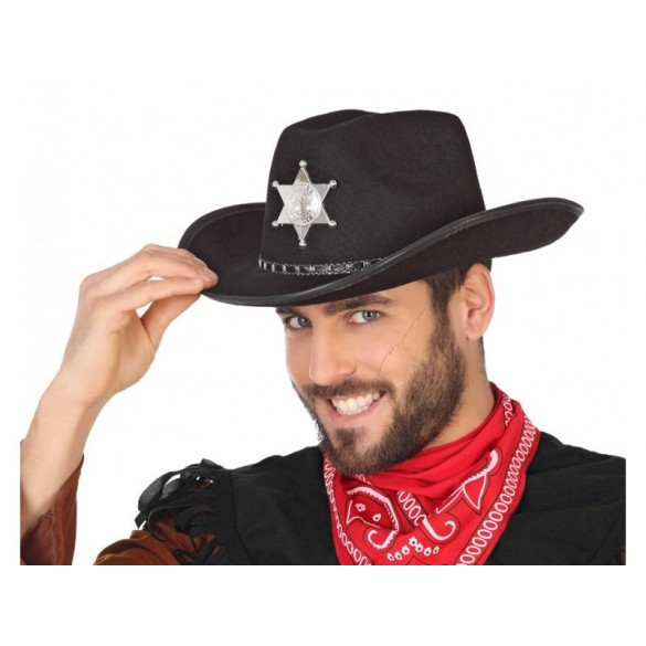 Chapeau cowboy Shériff noir