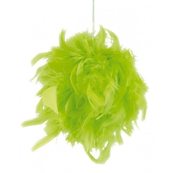 Boule de plumes vert anis 10cm