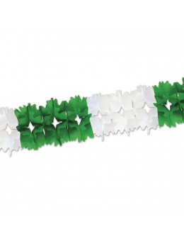 Guirlande papier bicolore vert et blanc