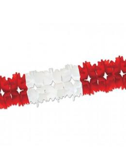 Guirlande papier bicolore rouge et blanc