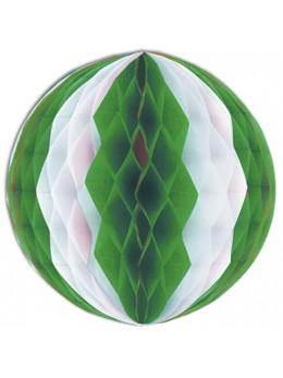 Déco boule papier vert et blanche 36cm