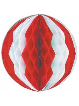 Déco boule papier rouge et blanche 36cm