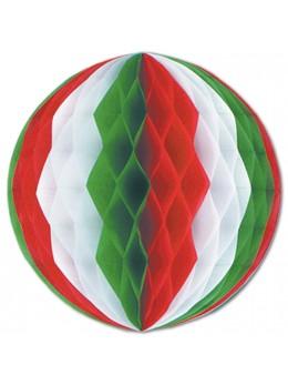 Déco boule papier vert blanc rouge 36cm