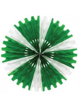 Eventail papier vert blanc 50cm