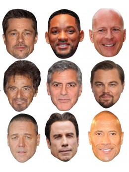 Assortiment 9 masques acteurs hollywood