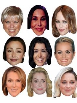 Assortiment 9 masques célébrités françaises