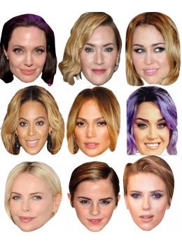 Assortiment 9 masques célébrités femmes