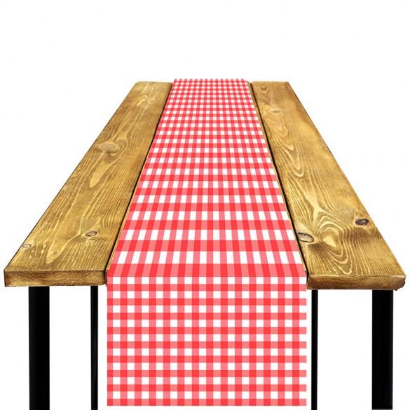 Chemin de table Vichy rouge et blanc