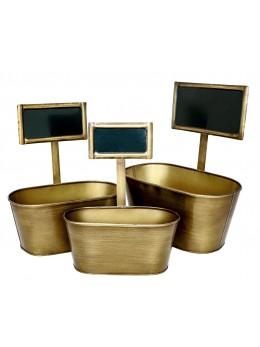 3 Pots métal laiton brun avec pancarte
