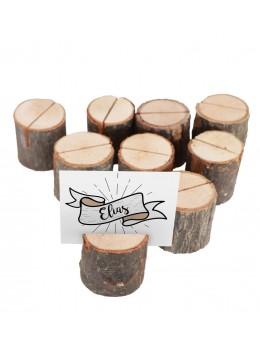 Set 9 marque place rondins de bois