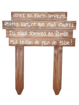 """Panneau bois """"Pas de plan de table"""""""