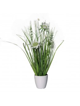 Pot plante artificielle blanche 34cm