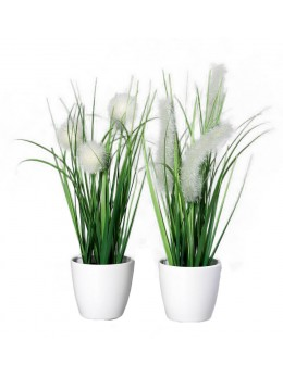 Pot plante artificielle blanche 27cm